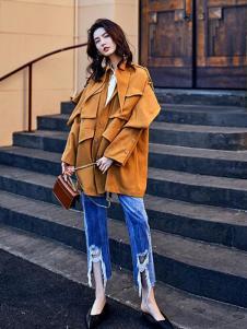 贝左女装黄色宽松休闲外套