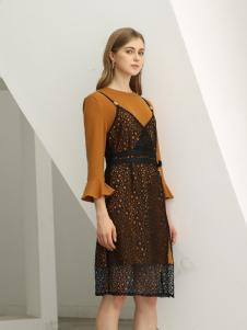 欧米媞女装新款秋冬长款连衣裙女裙子两件套装