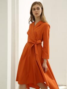 欧米媞女装新款秋冬中长款过膝a字裙系腰带百搭修身
