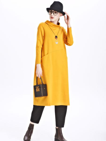 墨曲女装新品姜黄色长款套头衫