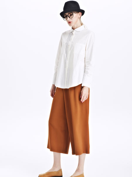 墨曲女装新品白色收腰短款棉质衬衫