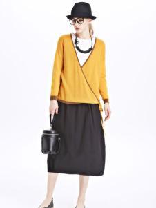 墨曲女装新品亮黄色长袖套头衫