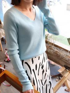 绒暖家家女装蓝色时尚羊绒衫
