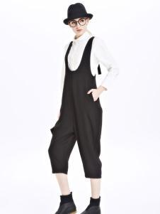 墨曲女装新品黑白色连体裤套装