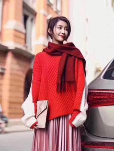 绒暖家家女装红色宽松毛衣