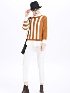 墨曲女装新品焦糖色长袖白色拼接短款套头衫