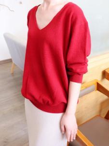 绒暖家家女装红色休闲羊绒衫