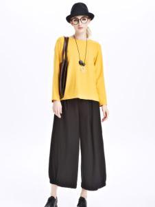 墨曲女装新品亮黄色长袖短款套头衫
