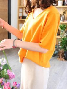 绒暖家家女装黄色时尚针织衫