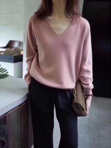 绒暖家家女装粉色休闲羊绒衫