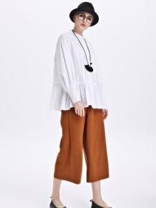 墨曲女装新品白色短款棉质衬衫