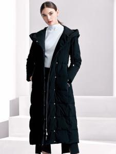 芮色黑色长款羽绒服