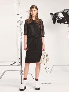 L+女装黑色网纱连衣裙
