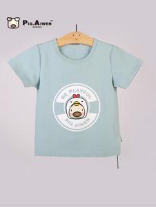 小猪艾文童装蓝色T恤