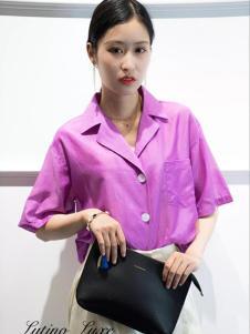 Lutino Luxe女裝紫色寬松襯衫