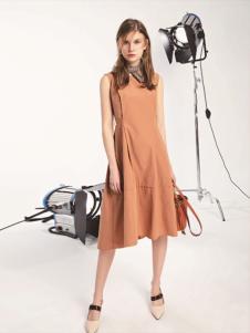 L+女装橘黄色不对称连衣裙