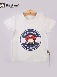 小猪艾文童装灰色T恤