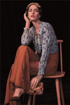 斐格思女装蓝色碎花衬衫