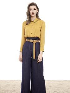 VADAINI女装黄色时尚衬衫