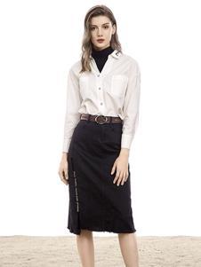 VADAINI女装白色修身衬衫