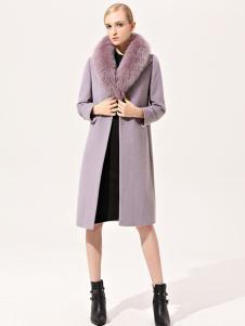 浙妮女装浅紫色中长款大衣