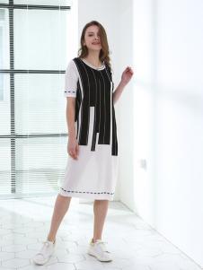 佳简衬橱女装白色条纹拼接连衣裙