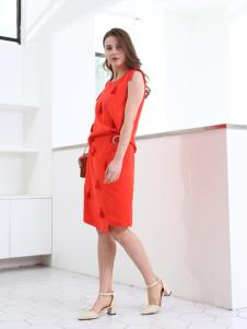 佳简衬橱女装橘红无袖连衣裙