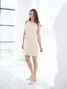 佳简衬橱杏色无袖连衣裙