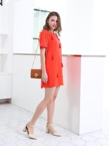 佳简衬橱女装橘红短袖连衣裙