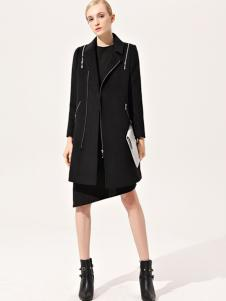 浙妮女装黑色中长款修身大衣