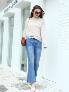 佳简衬橱女装浅蓝牛仔喇叭裤