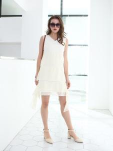 佳简衬橱女装白色斜襟连衣裙