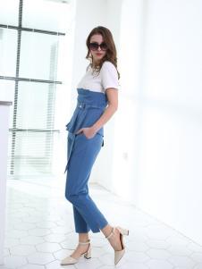佳简衬橱女装蓝色休闲套装