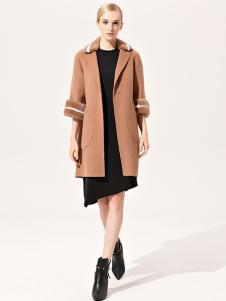 浙妮女装卡其中长款五分袖大衣