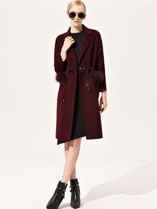 浙妮女装红色系带大衣