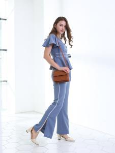 佳简衬橱女装蓝色时尚套装