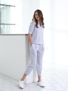 佳简衬橱女装浅灰色时尚套装