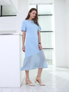 佳简衬橱女装蓝色网纱连衣裙
