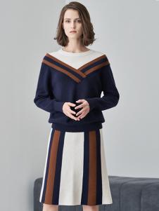 爱未陌生女装藏青修身针织衫