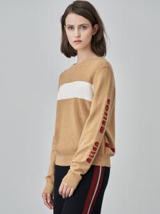 爱未陌生女装黄色字母针织衫