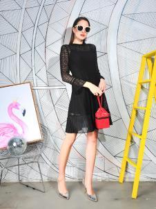 丹比奴秋冬新款黑色连衣裙