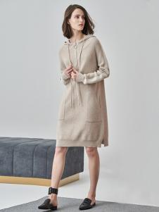 爱未陌生女装杏色针织连衣裙