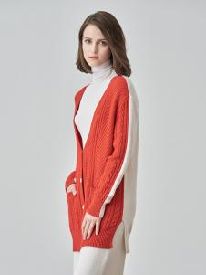 爱未陌生女装橘白拼接毛衣