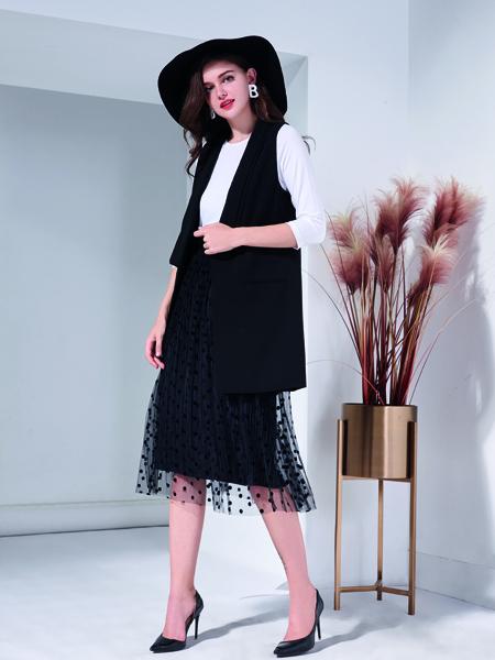 艾丽哲秋冬新款新款韩版中长款修身无袖时尚背心黑色蕾丝马甲