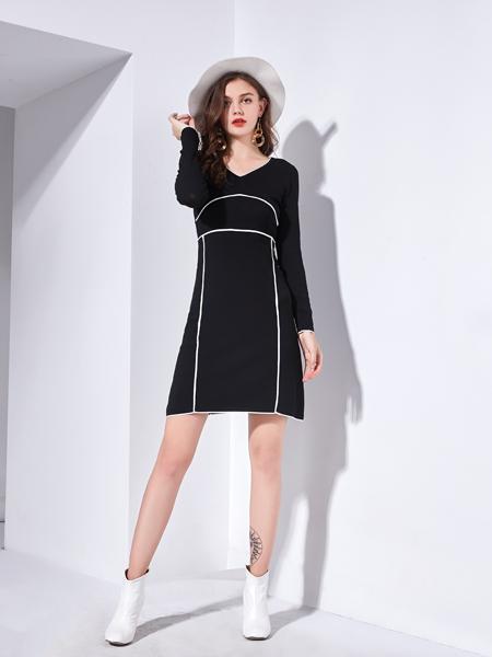 艾丽哲秋冬新款黑色小V领连衣裙