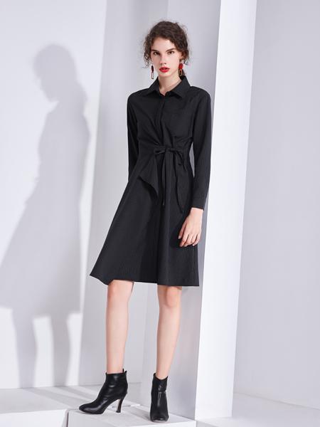艾丽哲秋冬新款黑色收腰显瘦连衣裙