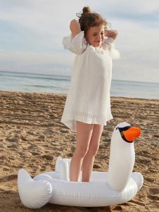 gxgkids童装白色雪纺女裙