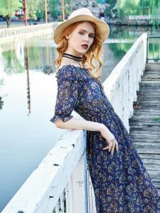 澳莉丝女装藏青碎花连衣裙