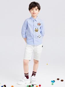 gxgkids童装蓝色印花衬衫