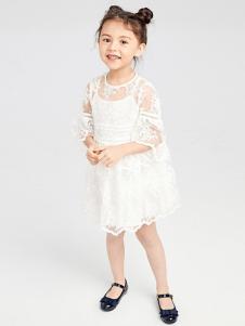 gxgkids童装白色网纱刺绣女裙